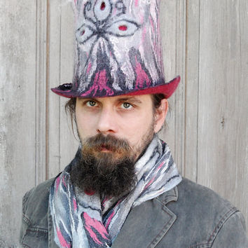 Unique fancy felted top hat, cylinder hat, high hat in shadows of gray, pink and red. Unisex hat.OOAK