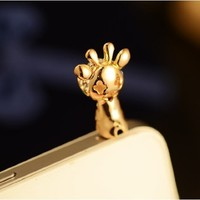 RED HOUSE High Quality 1pc Cute Lovely Giraffe Diamond Crystal Pendant Charm Earphone Stopper Jack Accessory Antidust Anti Dust Plug Ear Hole Cap Jack for Samsung Galaxy Siv S4 I9500 / Samsung I9100 I9300 N7100 /Apple Iphone 3 4 4s 5 /Cell Phone /Ipad Mini
