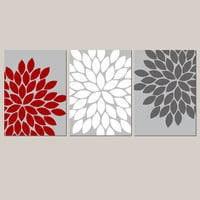 Red Gray White Wall Art Bedroom Kitchen Wall Art CANVAS or Prints Bathroom Wall Art Flower Wall Art Flower Burst Dahlia Set of 3