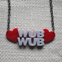 Dubstep love necklace - laser cut acrylic