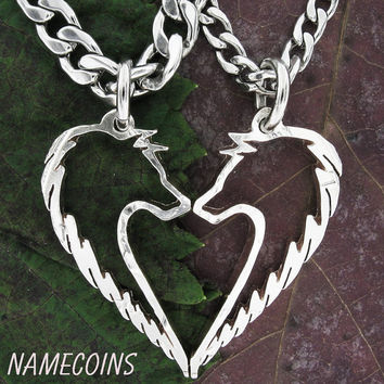 Wolf Heart Relationship Necklace Set all cut out, Half Dollar, hand cut coin