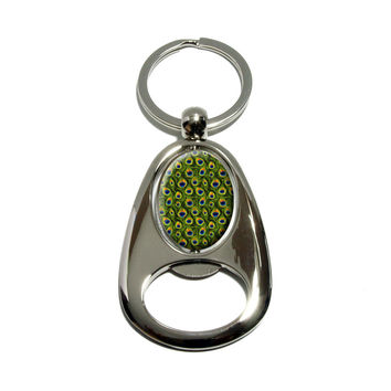 Peacock Print Spinning Oval Bottle Opener Keychain