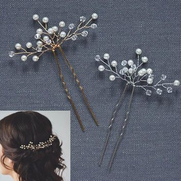 5 Pcs/Set Wedding Bridal Hairpins Simulate Pearl Hair Clips Ornaments Hairs Pins Lady Hairstyles Jewelry Accessories @M2