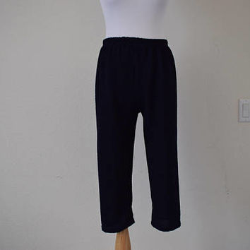 FREE usa SHIPPING Vintage pedal pushers pants/ polyester /clam diggers/ capris/ calf lenght/ three quarter pants/ cropped pants size S