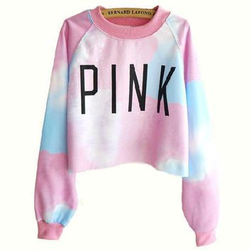 Letter Print Tie Dye Top Sweater Pullover