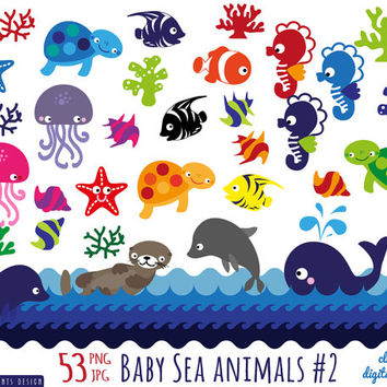 53 baby sea animals clipart, sea animals patterns clipart, dolphin seahorse starfish sea otter whale sea turtle clownfish angelfish clipart