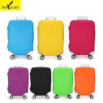 "Travelsky New Suitcase Pure Colors Luggage Cover For24"" Elastic wear-resist Travel Suitcase Protective Dust Covers Free Shipping"