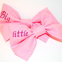 Big Sister/Little Sister Sorority Embroidered Hair Bow