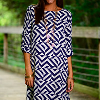 Higher Places Dress, Navy/White