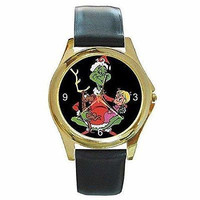 Christmas Grinch, Max and Cindy Lou Ho on a Womens Gold  Watch with Leather Band