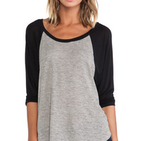Michael Lauren Michael 3/4 Sleeve Draped Raglan in Black