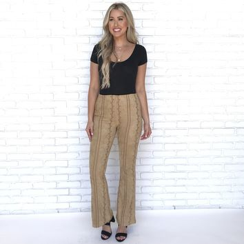 Street Smarts Suede Embroider Pants