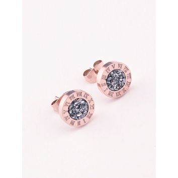 14K Rose Gold 6mm Round Natural Dark Grey Druzy Stud Earrings