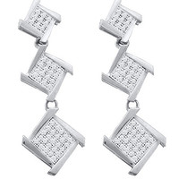 Diamond Micro Pave Earrings in 10k White Gold 0.3 ctw