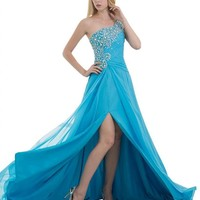 Dearta Women's A-Line One-Shoulder Sleeveless Court Train Chiffon Prom Dress