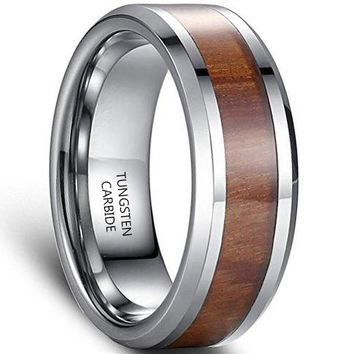 8mm Tungsten Carbide Ring Vintage Style 100% Wood Inlay Wedding Engagement Promise Band