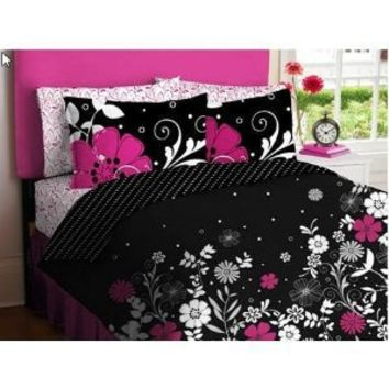 Pink Black White Girls Flowered Twin Comforter Sheet Bed In A Bag Set