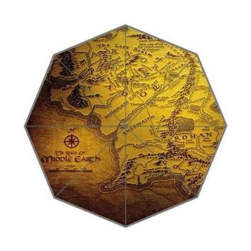Custom Top Quality Fantastic the lord of ring map 43.4 inch Automatic 3 Fold Umbrellas Good Gift For Birthday Friend