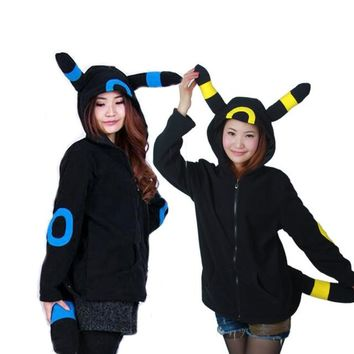 Women Kawaii Animal Hoodies Sweatshirt With Ears Tails Fleece Sudaderas Mujer Anime Pokemon Shiny Umbreon 2017 SH002
