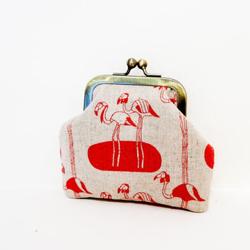 Red Flamingos Coin Purse, Metal Frame Pouch, Pouch, Change Purse, Small Metal Pouch, Kisslock Frame Pouch, Japanese Import Fabric Pouch