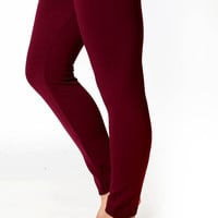Fleece Leggings High Waist Tummy Control - wine