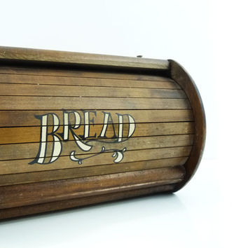Wooden roll top bread box, Vintage kitchen decor