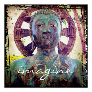 """Imagine"" Asian turquoise statue photo poster"
