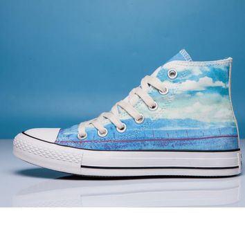 """Converse"" Fashion Canvas Flats Sneakers Sport Shoes High tops Blue printing"