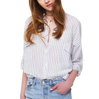 Lincoln Park Groove Button Down Top - Grey