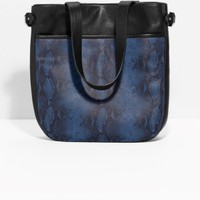 & Other Stories | Snake-Effect Leather Tote | Dark Blue