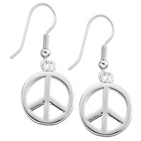 Large Peace Sign Dangle Earrings