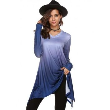 Gradient Handkerchief Hem Long Sleeve V Neck Loose Tops