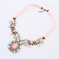 New Arrival Stylish Jewelry Gift Shiny Metal Gemstone Water Droplets Necklace [6586421383]