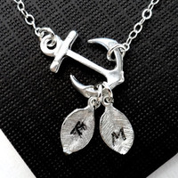 Personalized Silver Anchor Necklace,Mother's Day Jewelry.Silver Sideways Anchor,STERLING SILVER, Custom initial, Marine jewelry, Strength