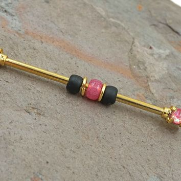 Pink Opal 14kt Gold Industrial Barbell