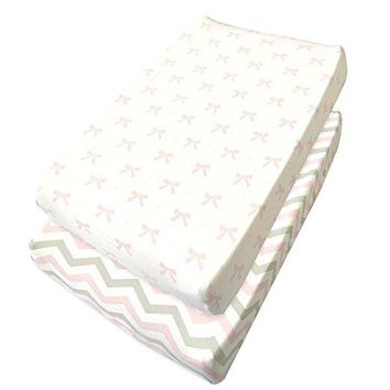 Cuddly Cubs Baby Crib Mattress Sheets Set | 2 Pack Crib Fitted Sheet For Boys, Girls, Toddler | Unisex Jersey Knit Cotton Babies Sheets for Crib | Bows and Chevron in Grey, White, Pink | Top Quality