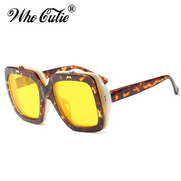 WHO CUTIE 2018 Square Flip Up Steampunk Sunglasses Men Women Brand Designer Vintage Retro Yellow Clip On Sun Glasses UV400 OM533