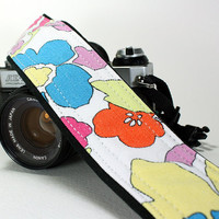 Camera Strap, Flowers 2, Orange, Blue, Yellow, Pink, dSLR, SLR, Padded