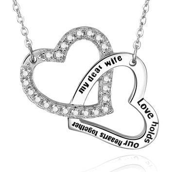 "925 Sterling Silver ""My Dear Wife Love Holds Our Hearts Together"" Heart Pendant Necklace"
