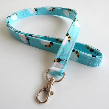 Bumblebee Lanyard / Bumble bees / Blue Bee Keychain / Cute Lanyards / Buzzing Bumblebees / Fabric Lanyards / Badge Holder / ID Lanyard