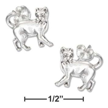 Sterling Silver Earrings:  Mini Prancing Cat Earrings On Stainless Steel Posts And Nuts