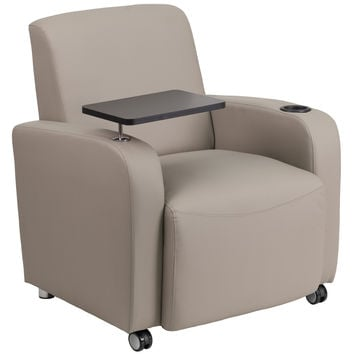Flash Furniture Gray Leather Guest Chair with Tablet Arm, Front Wheel Casters and Cup Holder [BT-8217-GV-CS-GG]