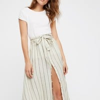 Free People Tie Front Midi Skirt