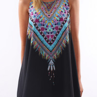 Black Tribal Print Sleeveless Chiffon Loose Mini Dress