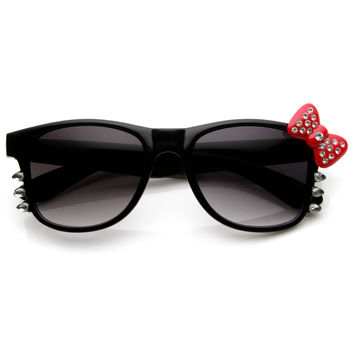 Bling Rhinestone Hello Kitty Bow Whiskers Horned Rim Sunglasses 8820