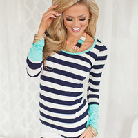 Patches of Aqua Striped Top