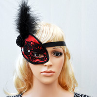 Black and Red  Lace Mask, One eye mask, Half Mask Fascinator, Lace Queen Mask, Masquerade Mask, Gothic, Helloween Headdress, Hair accesories