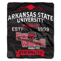 Arkansas State Red Wolves NCAA Royal Plush Raschel Blanket (Label Series) (50x60)