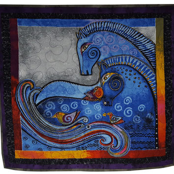 Fabric Wall Quilt in Laurel Burch Horses