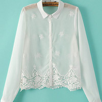 White Pointed Flat Collar Embroidered Cropped Chiffon Long Sleeve Blouse
